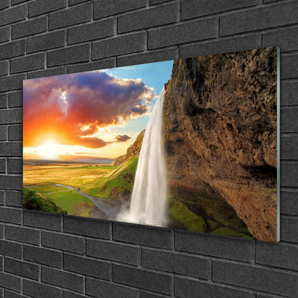 Glass print Wall art 100x50 Image Picture Waterfall Sun Landscape