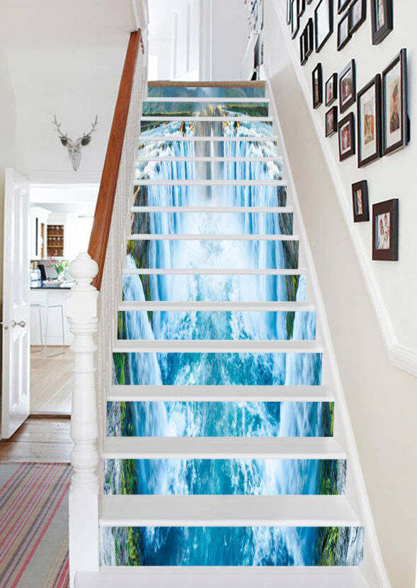 3D Wasserfall 657 Stair Risers Dekoration Fototapete Vinyl Aufkleber Tapete DE
