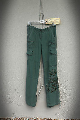 NWT Da-Nang Size S (Tall) Embroidered Tree Branches Seven Pocket Cargo Pants