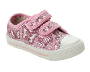 35613501bb18 Image is loading GIRLS-PINK-PURPLE-GLITTER-BUTTERFLY-PUMPS-TRAINERS-KIDS-
