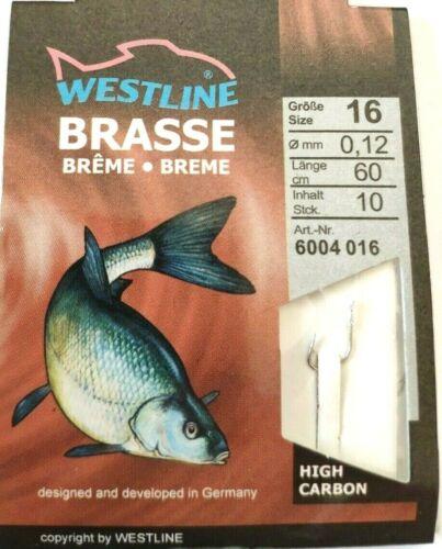 Westline Brasse Vorfachhaken Gr.16  10Stück Haken Angelhaken silber