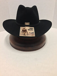 3e1559a2 JOHN WAYNE 6X FUR FELT DUKE COWBOY HAT RESISTOL BLACK-No Tax Sell+ ...