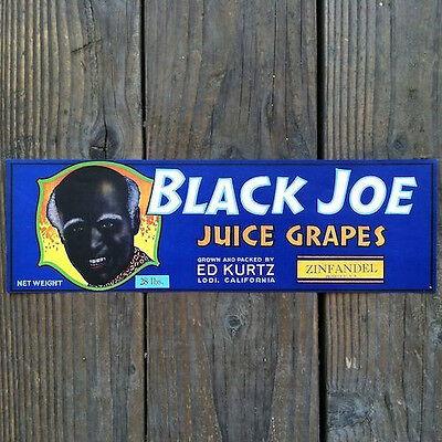 Vintage Original BLACK JOE Grape Fruit Crate Box Label 1940s Unused NOS