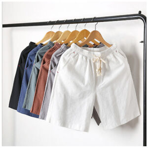 Mens-Shorts-Plain-Drawstring-Cotton-Linen-Loose-Beach-Summer-Hot-Pants-Trousers