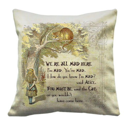 Throw Pillow Traditional Design-Cheshire Cat 16X16 Alice In Wonderland Cushion