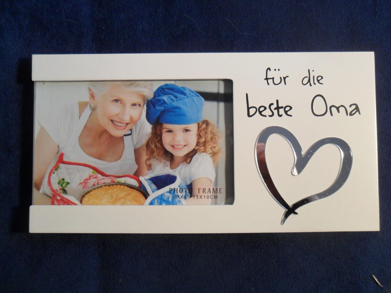 """weiß Bilderrahmen /""""Beste Oma der Welt/"""" für Foto 10 x 15 cm"""