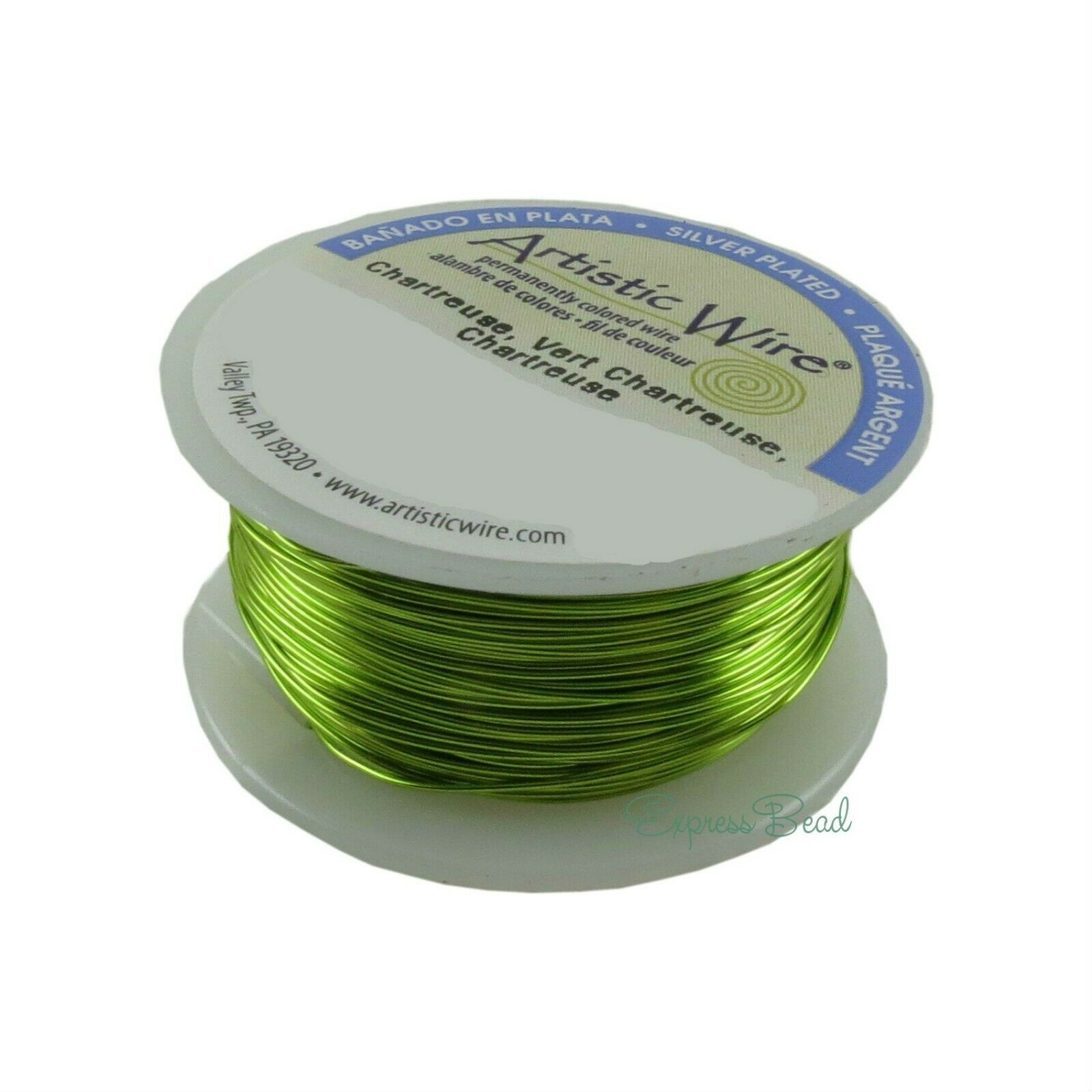 Wire 26-28GA Chartreuse Green Silver Plated Tarnish-Resistant Artistic Wire