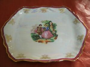 VASSOIO-Coppia-Adamo-Gold-Collection-Decorato-a-Mano-Bordo-Dorato-17-50x23-cm