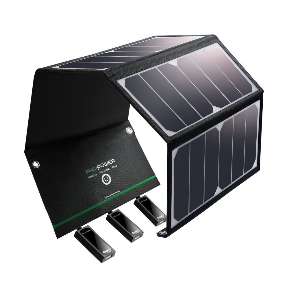 NEW RAVPOWER 24W SOLAR PANEL CHARGER W  3 USB FOR HIKING, IPHONE, GALAXY & MORE
