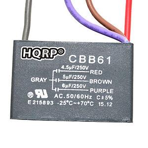 Capacitor for hampton bay ceiling fan 45uf5uf6uf 4 wire cbb61 image is loading capacitor for hampton bay ceiling fan 4 5uf aloadofball Image collections