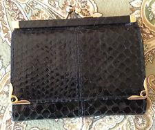 Vintage  Judith Leiber Black Snake Skin Trifold Coin Wallet Onyx Kiss Lock snap
