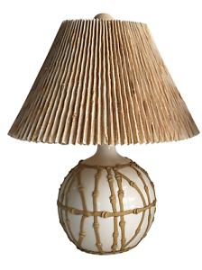 Vintage Mid Century Modern Faux Bamboo Lamp Porcelain Boho ...