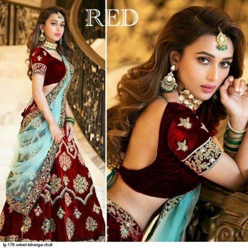 Red Velvet Lehenga Choli Designer Lengha Chunri Indian Ethnic Wedding Wear Sari