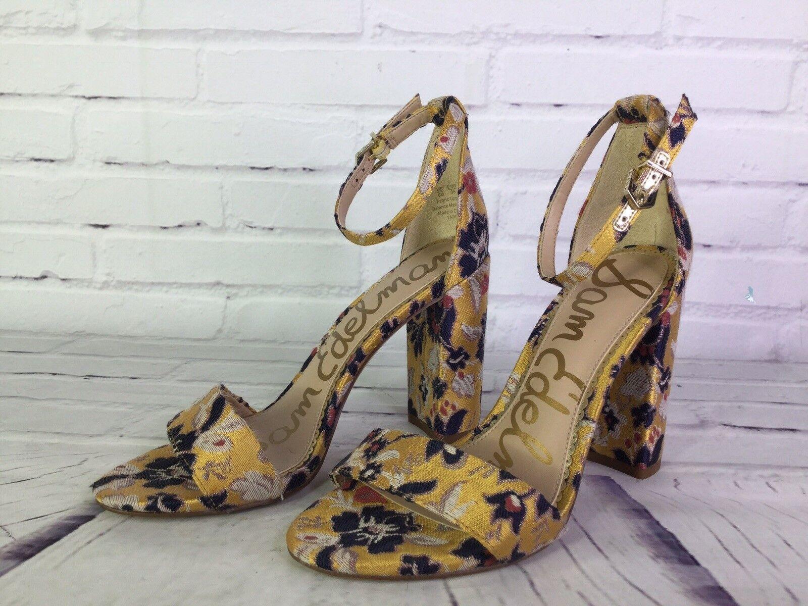 Sam Edelman Yaro taille 6 Toscane jaune Gatsby Floral Jacquard Sandales Talons Chaussures