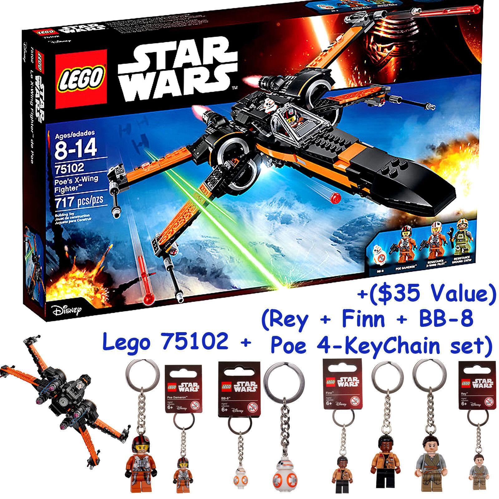 LEGO Star Wars Poe's X-Wing Fighter (75102) + 4-Keychain (Poe Rey Finn BB-8) +FS
