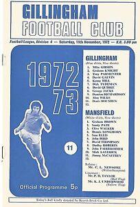 Football-Programme-Gillingham-v-Mansfield-Div-4-Nov-1972