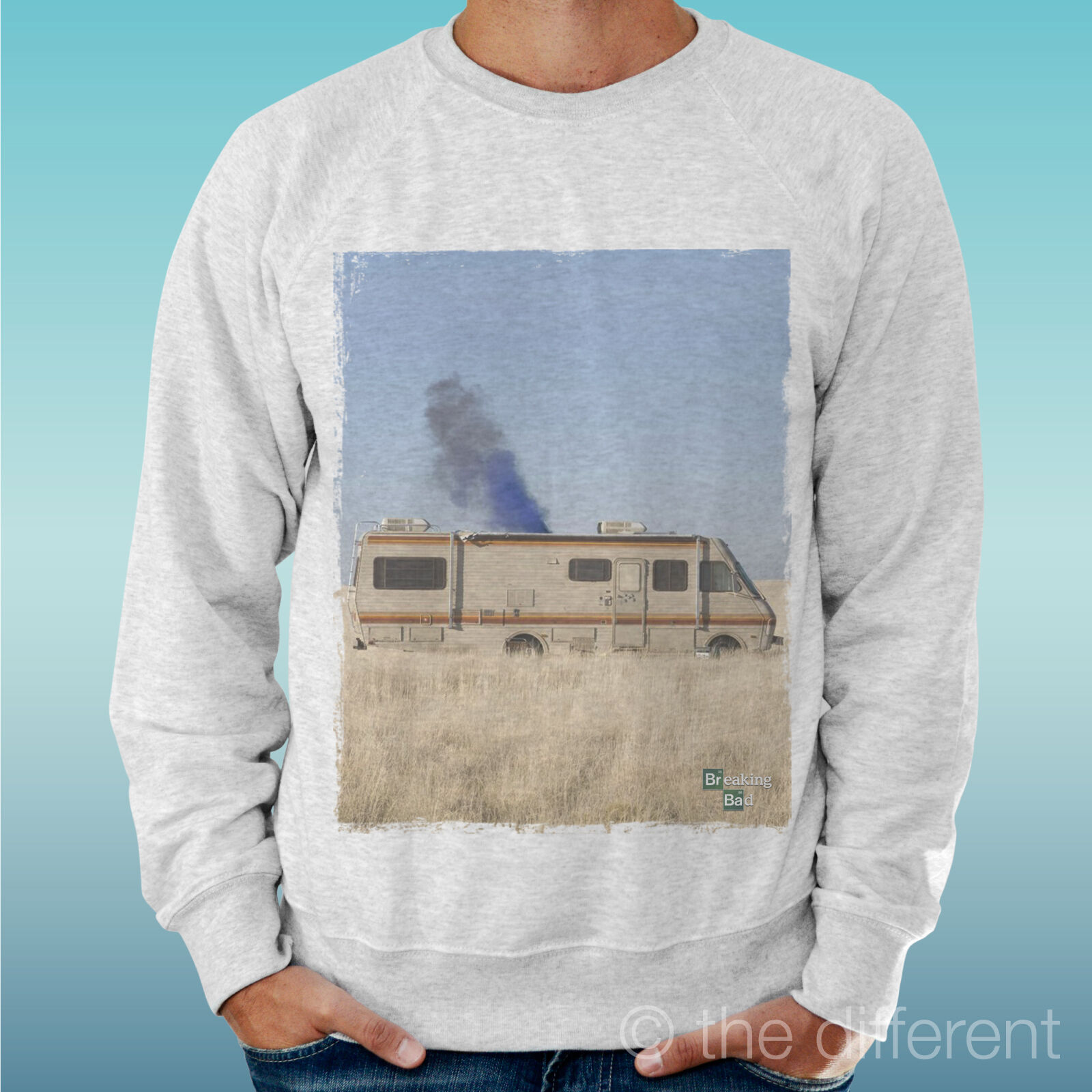 MEN'S SWEATSHIRT LIGHT SWEATER LIGHT GREY GREY  BREAKING BAD CAMPER