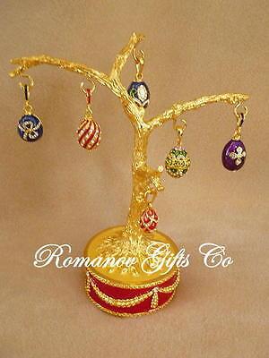 Russian Imperial Musical Easter Egg Tree 6 Egg Pendants plays Fur Elise