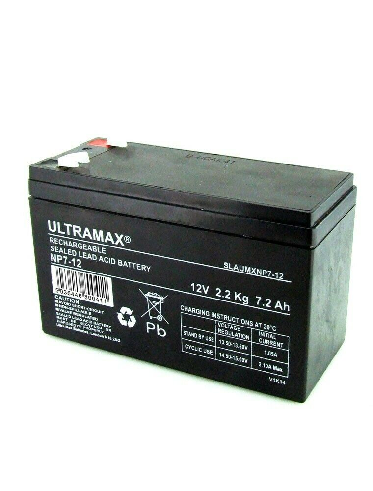 2 Paio Ultramax 12V 7AH Batteria Elettrico Rasoio Scooter E300,Tasca Mod,mx350