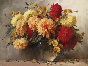 Art Oil painting beautiful still life peony flowers in glass vase hand painted