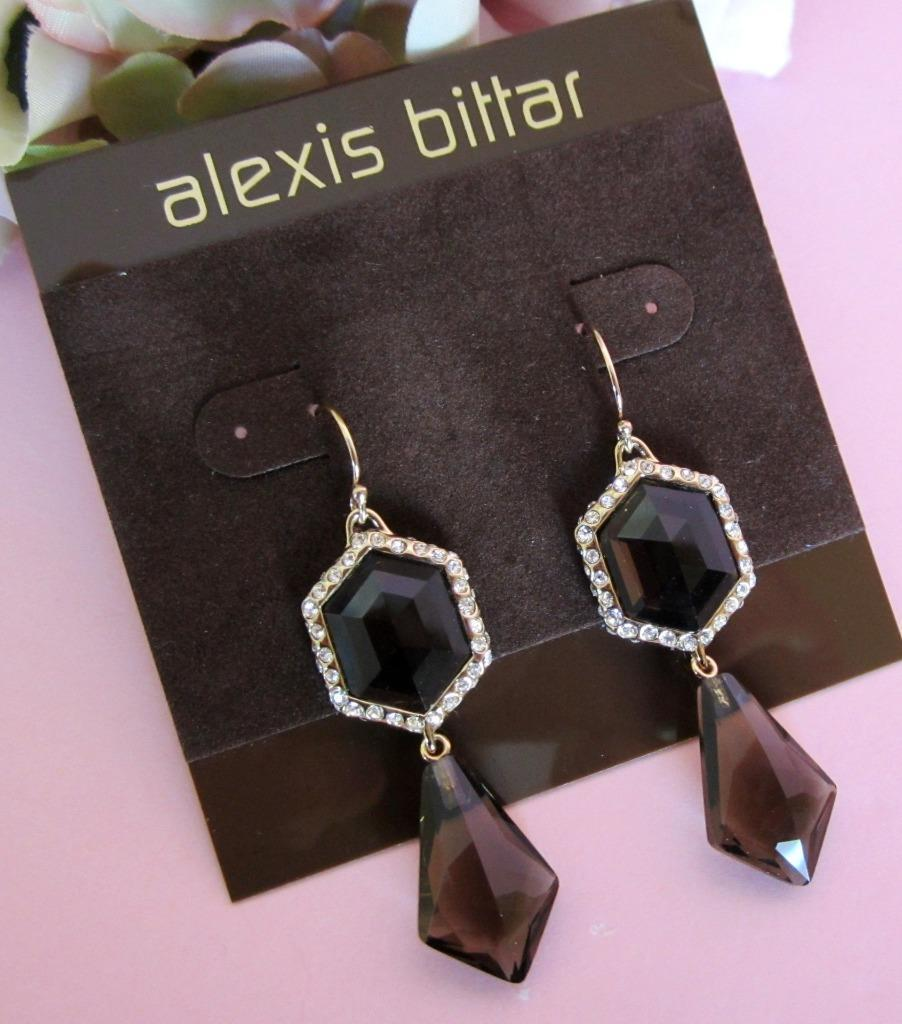 Alexis Bittar Miss Havisham Hexagon Smokey Quartz Drop Earrings NWT  195