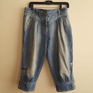 Denim Distressed Femme Italien Gabbana Cuffed Pantalon en Taille Dolce de 42 H6awYpnq