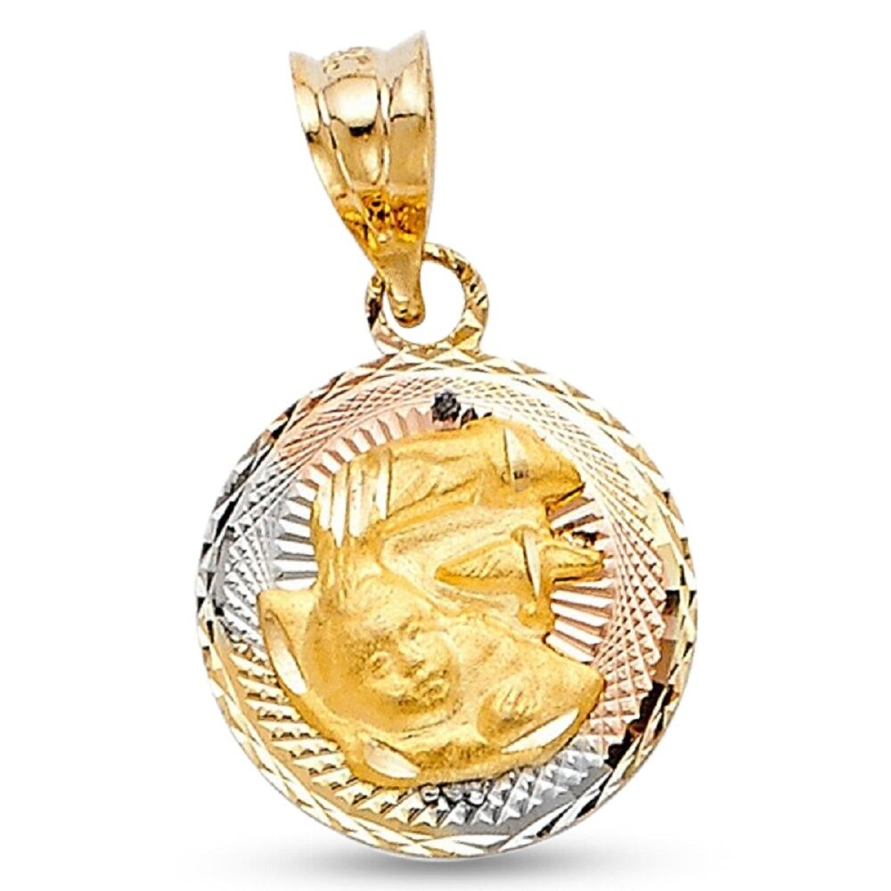 Round Holy Baptism Coin Pendant 14k Yellow White pink gold Religious Charm
