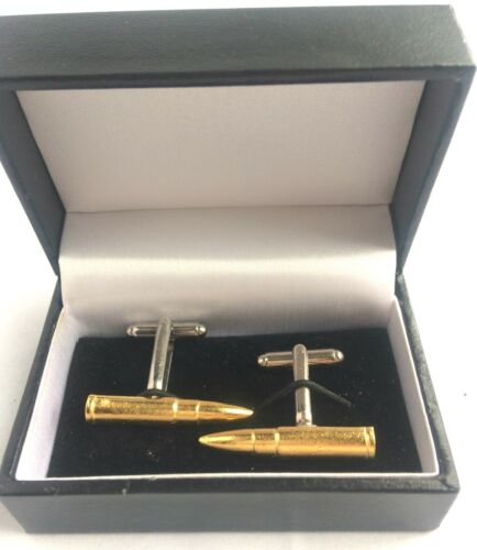 Gold Bullet Cufflinks handmade in England from Fine English Pewter.