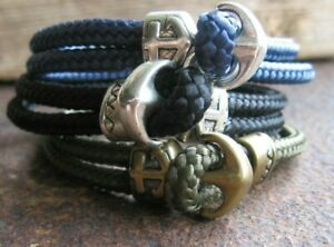 Anker-Armband-schwarz-gruen-blau-Herren-Damen-Surferstyle-Surferschmuck-Segeltau
