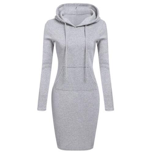 UK Womens Hooded Tops Hoodie Jumper Pullover Long Sleeve Sweatshirt Mini Dress