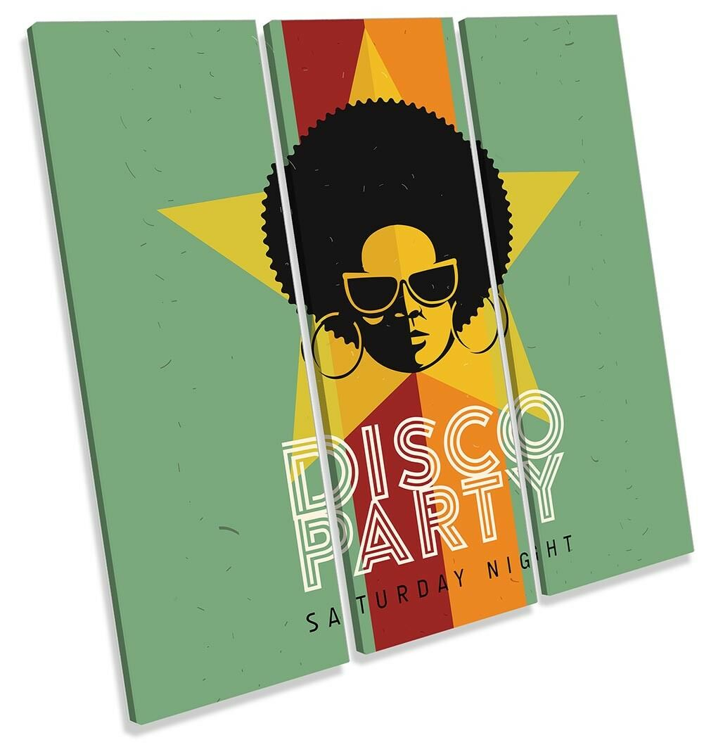 Disco Party Music Pop Framed TREBLE CANVAS PRINT Wall Art