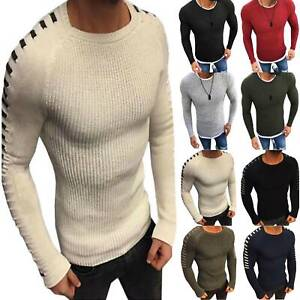 Men-Knitted-O-Neck-Jumper-Pullover-Long-Sleeve-Sweater-Muscle-Fit-Tops-Winter