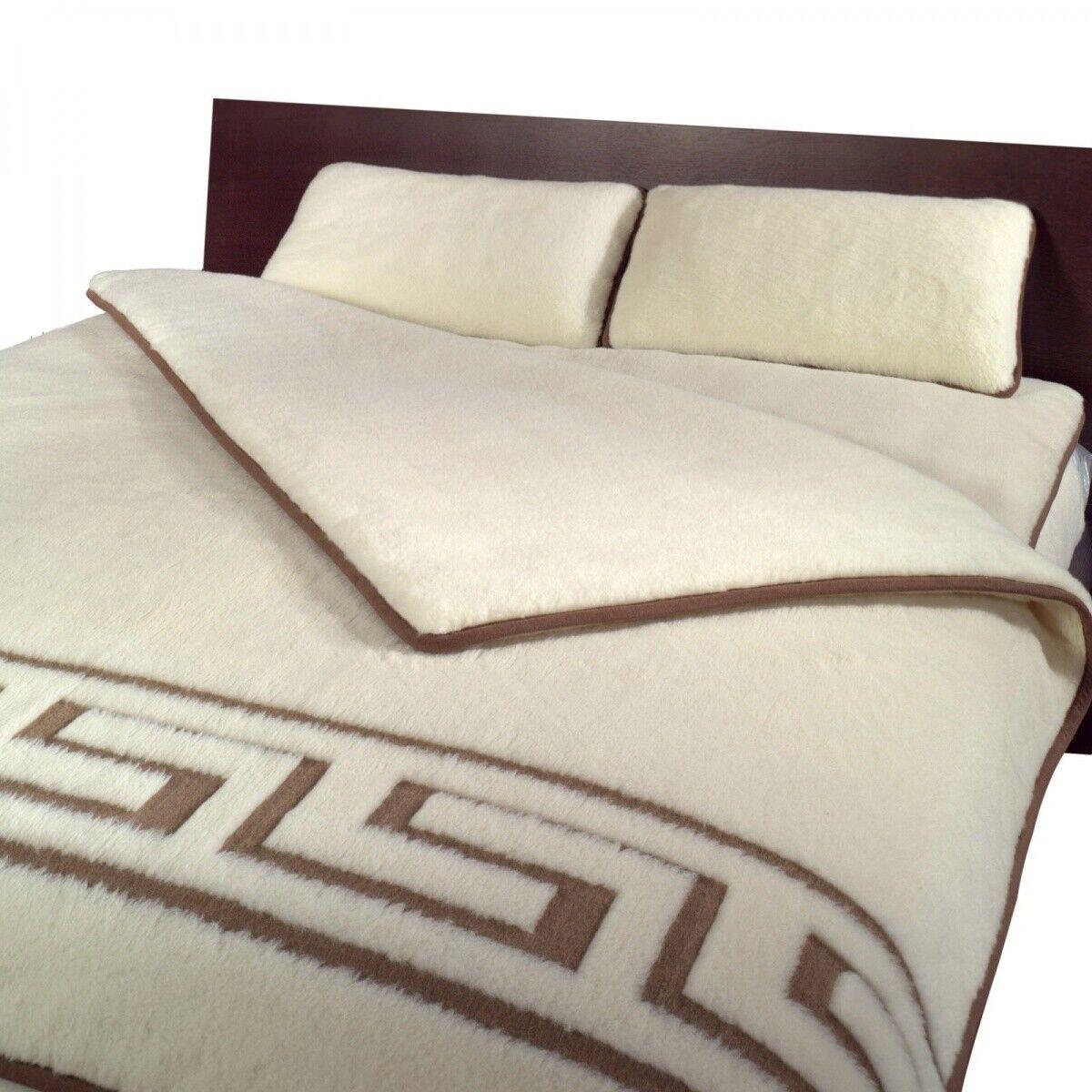 Bettdecke Wolldecke Greca 140x200 ökologisch 2 Schichten Merinowolle Weiß/Braun