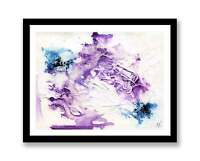 Purple and Blue shapes Abstract - original ink abstract painting unique gift