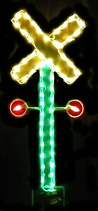 Christmas-Railroad-Crossing-Sign-Outdoor-LED-Lighted-Decoration-Steel-Wireframe