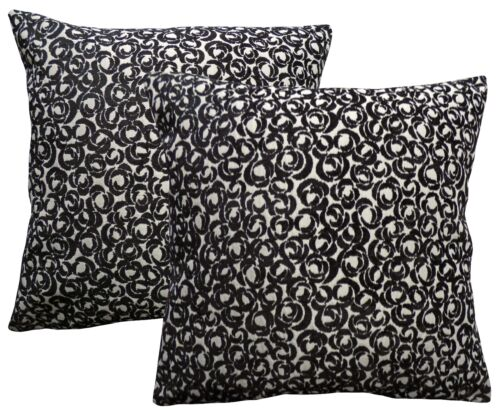 Pack of 2 Floral Black Cushion Covers