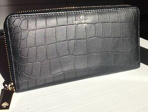 NWT-RARE-Kate-Spade-Neda-Exotic-Black-Leather-Zip-Around-Wallet-MSRP-165