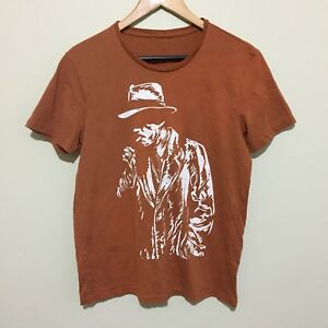 Smoking-Cigarette-Detective-Private-Eye-Graphic-T-Shirt-Tee-Brown-Mens-Small