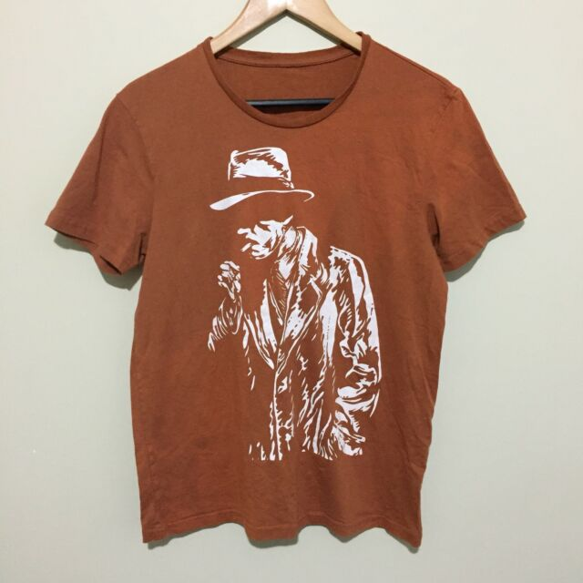 Smoking Cigarette Detective Private Eye Graphic T-Shirt Tee Brown Mens Small
