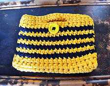 Hand made crochet bag boodles recycled yarn yellow clutch