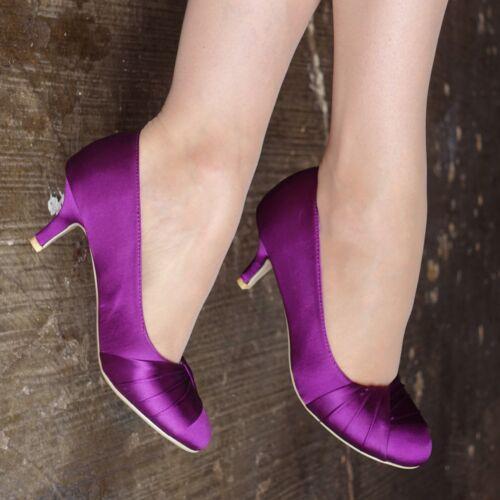 Femmes Satin Soirée Chaussures Bout Fermé femme basse Chaton Talon Occasion Chaussures Taille