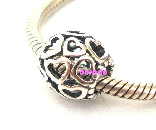 Argent Sterling 925 ajourée cœur amour Fit European Charm Bracelet