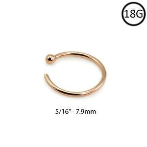 14kt Solid Rose Gold Open Hoop Nose Ring 5 16 7 9mm 18 Gauge