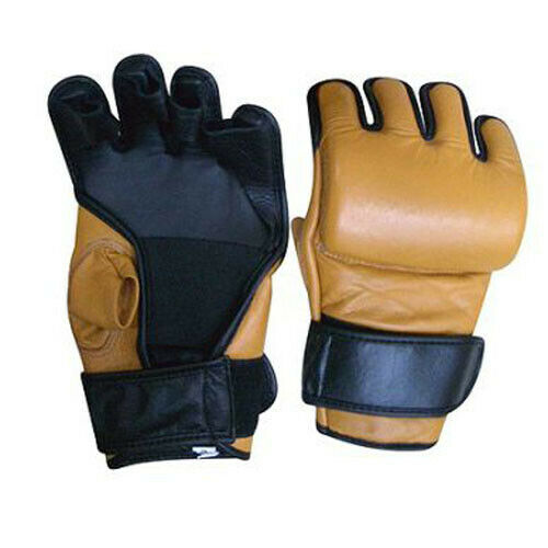 MMA grappling gloves genuine leather made