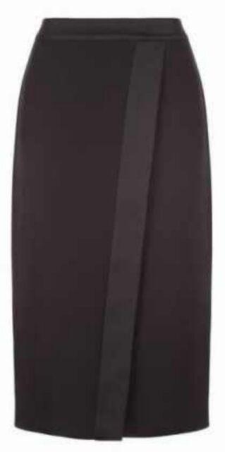 Monsoon Petra Black Skirt Uk 18 Bnwt Wrap Over