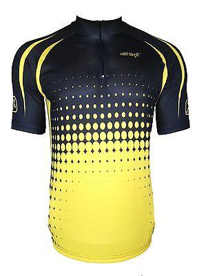 Athlex Funktions Radtrikot - Radshirt - Fahrradtrikot -atmungsaktiv-schwarz/gelb
