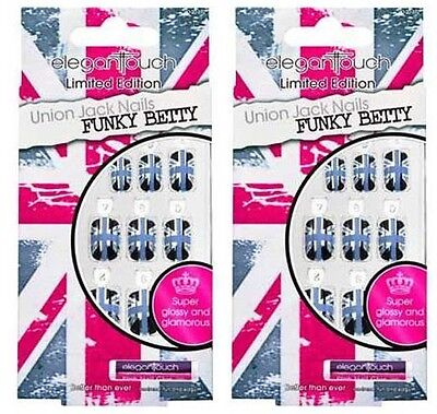 2 x ELEGANT TOUCH LIMITED EDITION UNION JACK FALSE NAIL FUNKY BETTY NAILS 572