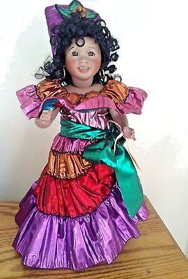 "Wendy Lawton Doll Carnival Brazil Cherished Customs 14"" tall Original Box & COA"