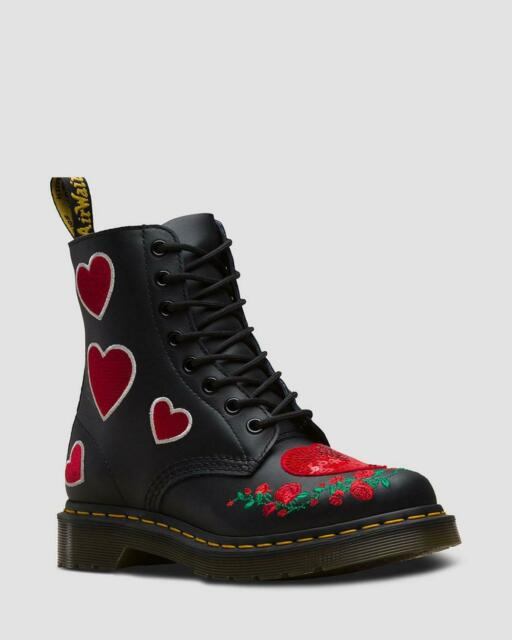 Dr Martens 8 Eyelet 1460 Pascal Sequin Hearts Black Leather Boots UK 4 8 Roses