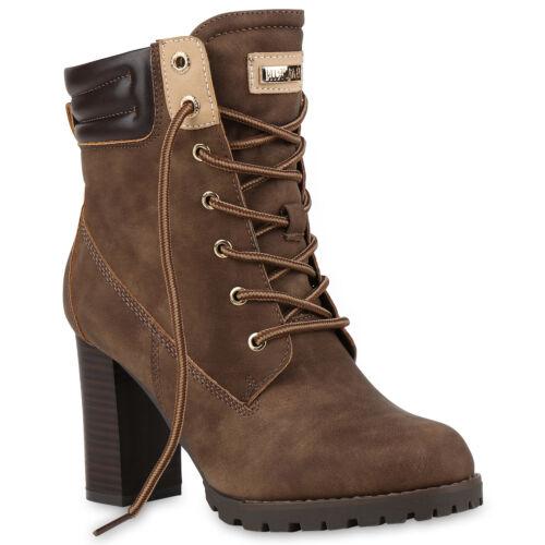 Modische Damen Worker Boots Holzoptikabsatz Stiefeletten 812279 Schuhe